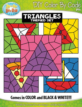 Triangle 2D Shapes Color By Code Clipart {Zip-A-Dee-Doo-Dah Designs}