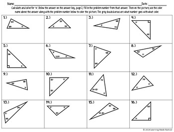 Triangle Angle Sum Theorem Color By Number Activity