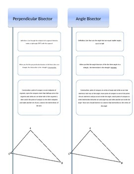 Triangle Centers Construction Graphic Organizer