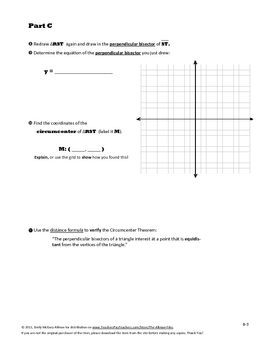 Triangle Centers Coordinate Geometry: Common Core Performance Task