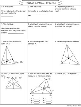 Triangle Centers Notes and Worksheets (Points of Concurrency)