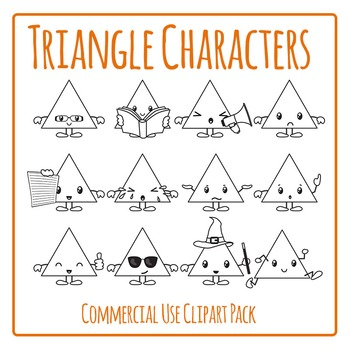 Triangle Characters in Black and White Clip Art for Commercial Use
