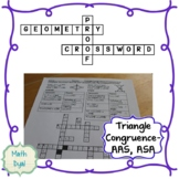 Triangle Congruence AAS and ASA Geometry Proofs Crossword Puzzle