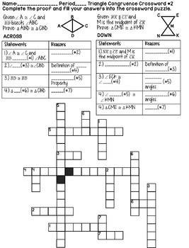 Triangle Congruence Aas And Asa Geometry Proofs Crossword