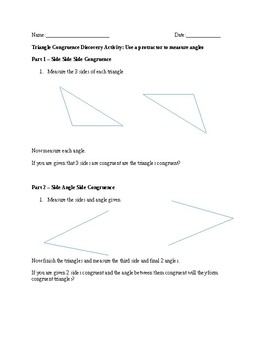 Triangle Congruence Discovery Activity