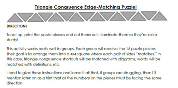 Triangle Congruence Edge-Matching Puzzle