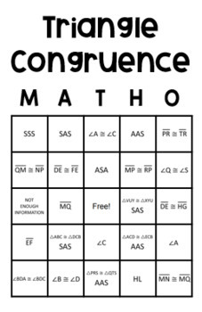 Triangle Congruence- Geometry Task Cards & MATHO