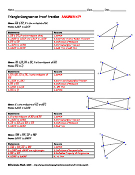 Triangle Congruence Proof GEOMETRY Worksheet END OF UNIT