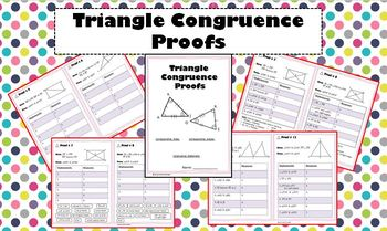 Triangle Congruence Proofs - 4 Differentiated Levels