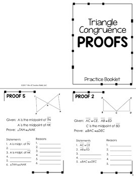 Triangle Congruence Proofs Foldable Practice Booklet by ...
