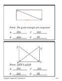 Triangle Congruence Proofs - SSS, SAS, ASA, AAS and HL (Quiz)