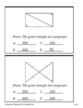 Triangle Congruence Proofs - SSS, SAS, ASA, AAS and HL (Quiz)