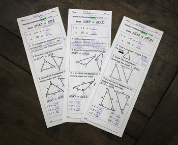 Triangle Congruence Quiz (3 versions)