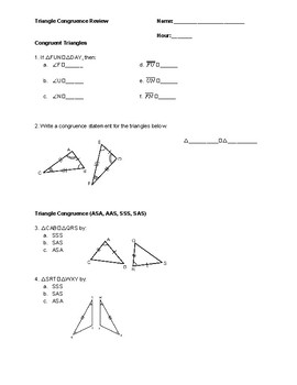Triangle Congruence Review