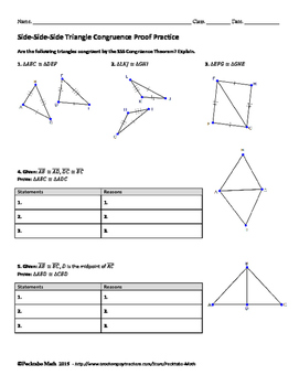 Triangle Congruence SSS Proof GEOMETRY Worksheet by Pecktabo Math