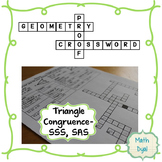 Triangle Congruence SSS and SAS Geometry Proofs Crossword Puzzle