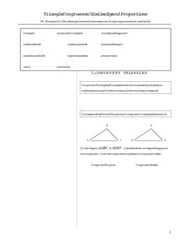 Triangle Congruence & Similarity Notes