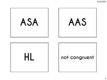 Triangle Congruence Sorting Activity (SAS, SSS, ASA, AAS, HL)