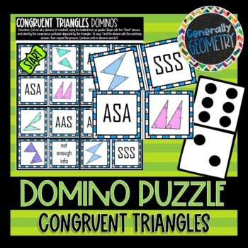 Triangle Congruence Theorems: Set of 2 Domino Puzzles; Geometry, SSS, SAS, ASA