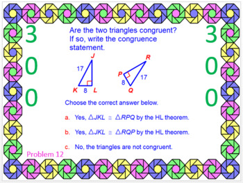 TRIANGLES:  CONGRUENT TRIANGLES - WIPE OUT! POWERPOINT GAME OR REVIEW
