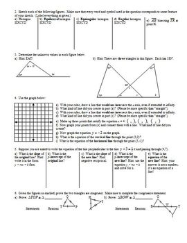Triangle Congruence Worksheet Fall 2010 with Answer Key (Editable)