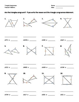 Triangle Congruence Worksheet - Practice Problems by Dr Pepper Lover