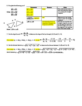 Triangle Congruence and CPCTC - Proving Triangles Congruent w/Key - Editable