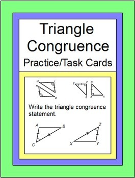 Triangles - Triangle Congruence Practice(SSS,SAS,ASA,AAS,HL, 20 TASK