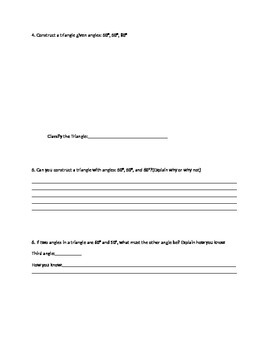 Triangle Construction Worksheet with protractor 7.g.a.2