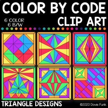 Triangle Designs Color by Code Clip Art