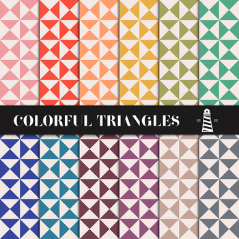 Triangle Digital Paper Pack, Scrapbook Paper, Printable Backgrounds