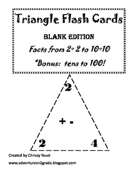 Triangle Fact Cards:  Math Fluency with Related Facts