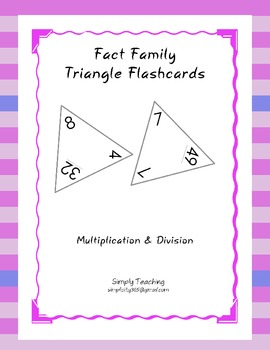 triangle flashcards fact family multiplication and division tpt. Black Bedroom Furniture Sets. Home Design Ideas