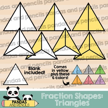 Triangle Fractions Clip Art (Thick Lines)