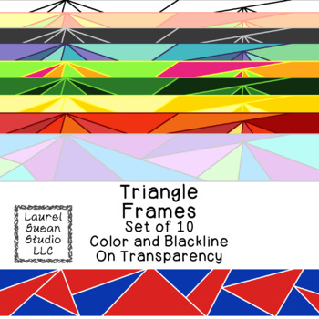 Triangle Frames Clip Art PNG JPG Blackline Included Commercial or Personal