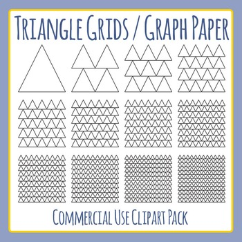 Triangle Grids / Graph Paper Commercial Use Clip Art Pack