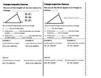Triangle Inequality & Angle Sum Theorem Notes for Interactive Notebooks