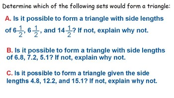 Triangle Inequality Investigation