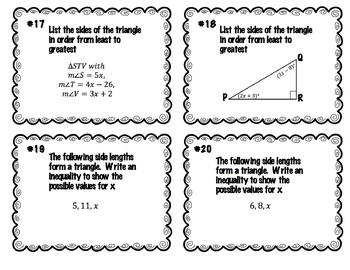 Triangle Inequality Task Cards - 36 of them!