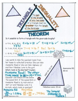 Triangle Inequality Theorem Doodle Notes or Graphic Organizer