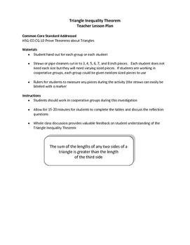 Triangle Inequality Theorem HSG.CO.C.10