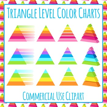 Triangle Level Diagrams Color Clip Art Set for Commercial Use
