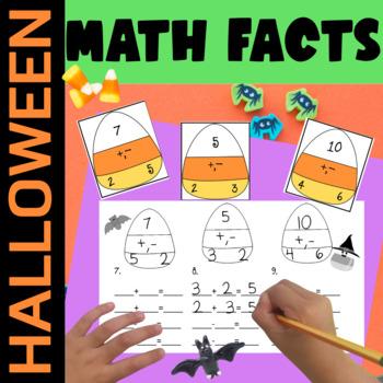 Halloween Math Computation: Triangle Math Fact Families Differentiated