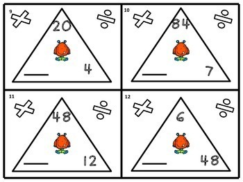 Triangle Math Facts Task Cards Test Prep