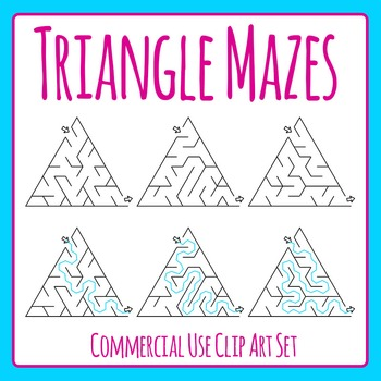 Triangle Mazes Clip Art Set for Commercial Use