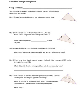 Triangle Midsegments By Mferg7 Teachers Pay Teachers