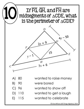 Triangle Midsegments Math Lib By All Things Algebra Tpt