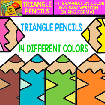 Triangle Pencil - Cliparts Set - 14 Items