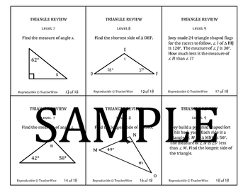 Triangle Problem Solving Review Task Cards: Sides, Angles, Word Problems