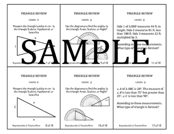 Triangle Problem Solving Review Task Cards: Sides, Angles,
